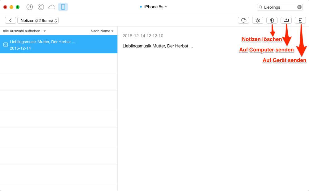 Notizen vom iPhone auf iPhone übertragen – Schritt 4