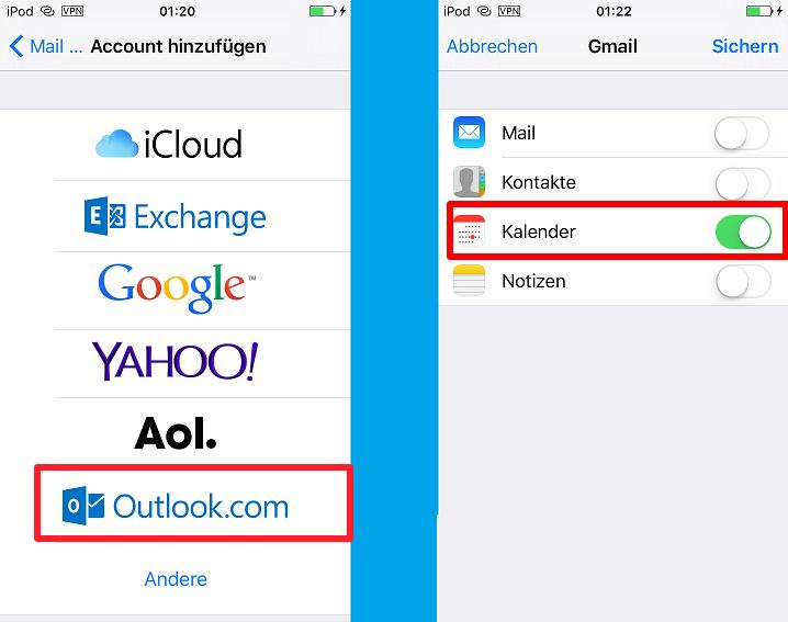 Outlook Kalender auf iPhone - Schritt 2