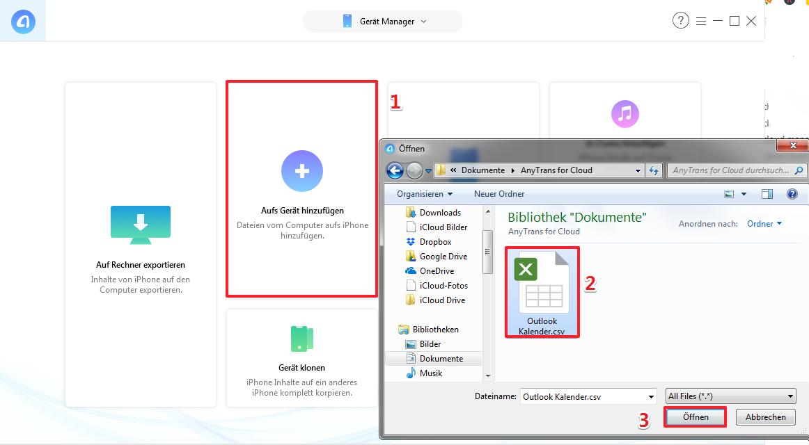 CSV Outlook Kalender auf iPhone kopieren