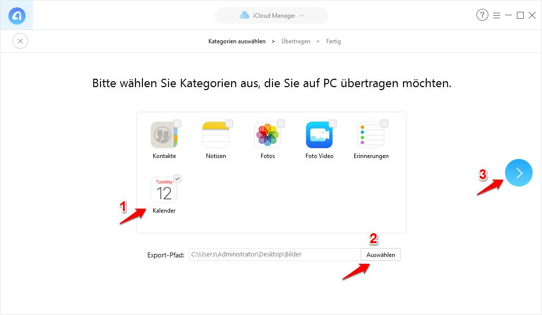Outlook Kalender mit iCloud synchronisieren und mit AynTrans herunterladen