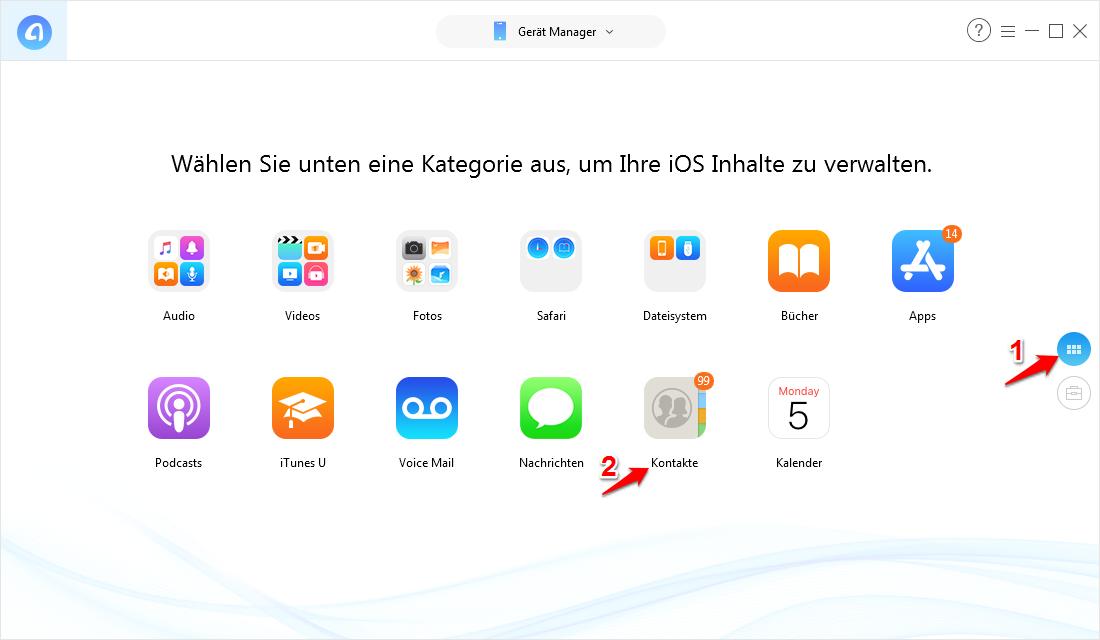 Outlook Kontakte auf iPhone mit AnyTrans übertragen – Schritt 2