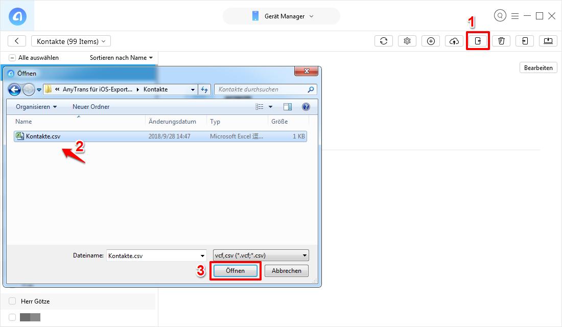 Outlook Kontakte auf iPhone X/8/7/6 mit AnyTrans übertragen – Schritt 3