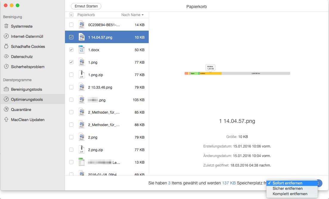 Papierkorb auf dem Mac sicher und komplett leeren – Schritt 2