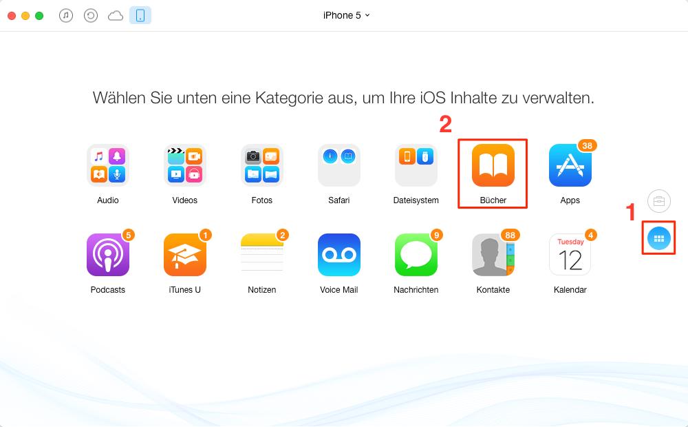 """AnyTrans starten und """"iBooks"""" wählen - Schritt 1"""