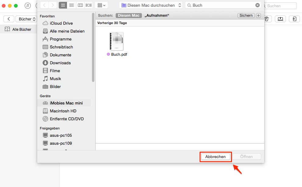 PDF E-Book auf iPhone übertragen - Schritt 2