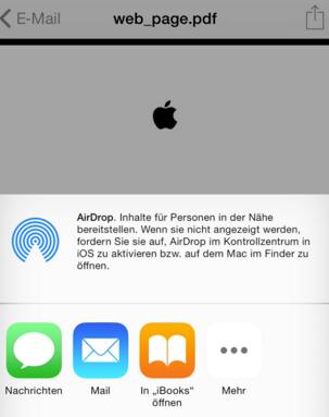 Mit E-Mail Anhang kann man PDF in iBooks kopieren