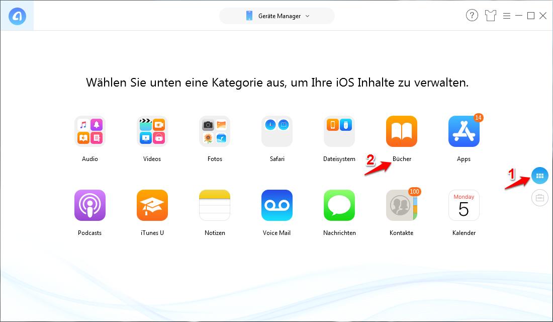 """AnyTrans starten und """"iBooks"""" anklicken – Schritt 1"""