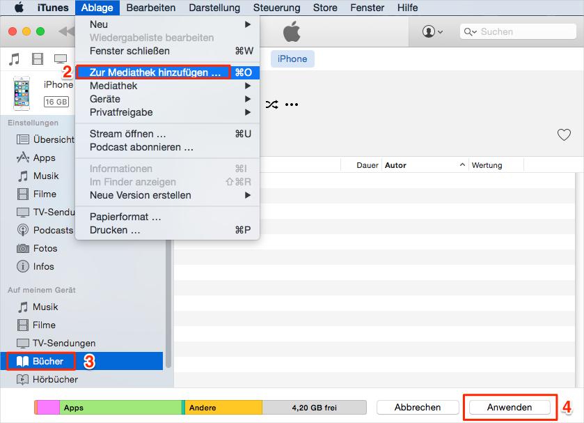 Über iTunes – PDF in iBook speichern