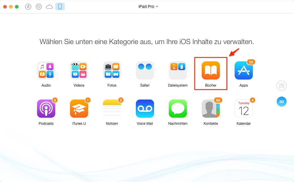 """AnyTrans starten und """"iBooks"""" anklicken - Schritt 1"""