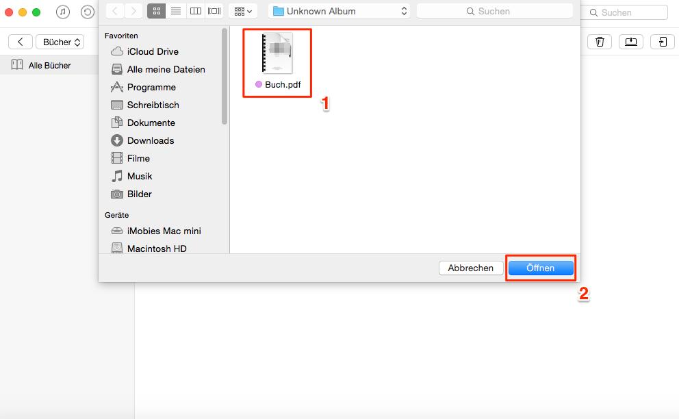 PDF Dateien in iBooks-App auf iOS-Gerät importieren - Schritt 2