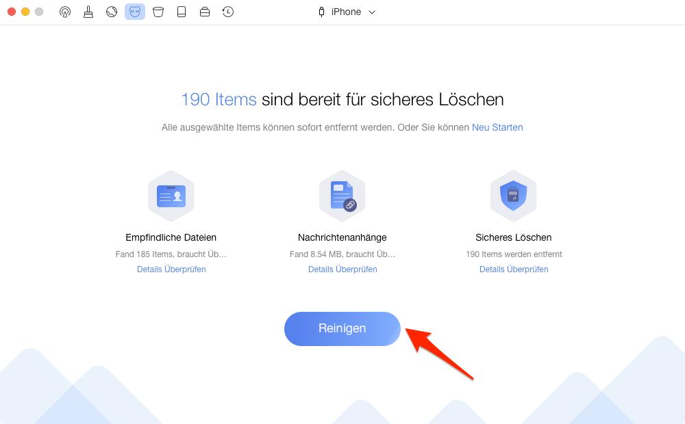 iPhone Daten löschen mit PhoneClean - Schritt 2
