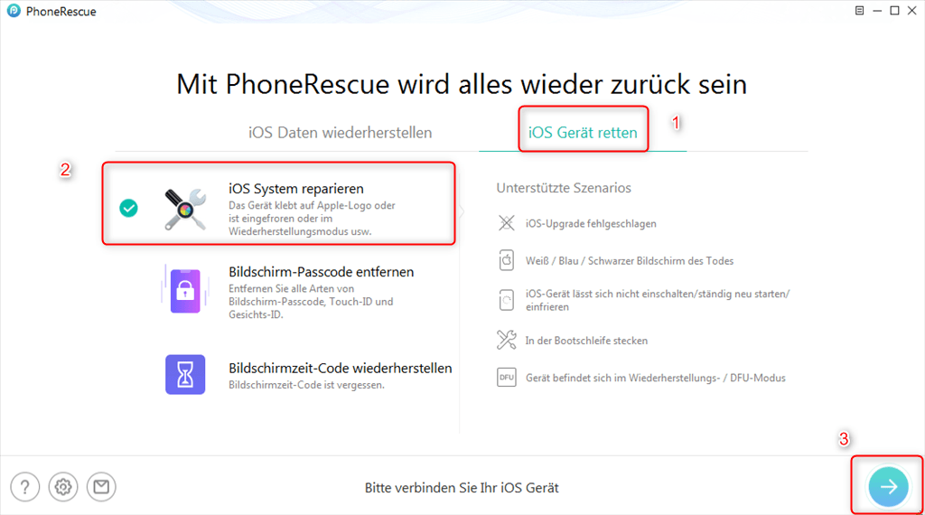 phonerescue-ios-system-reparieren-waehlen