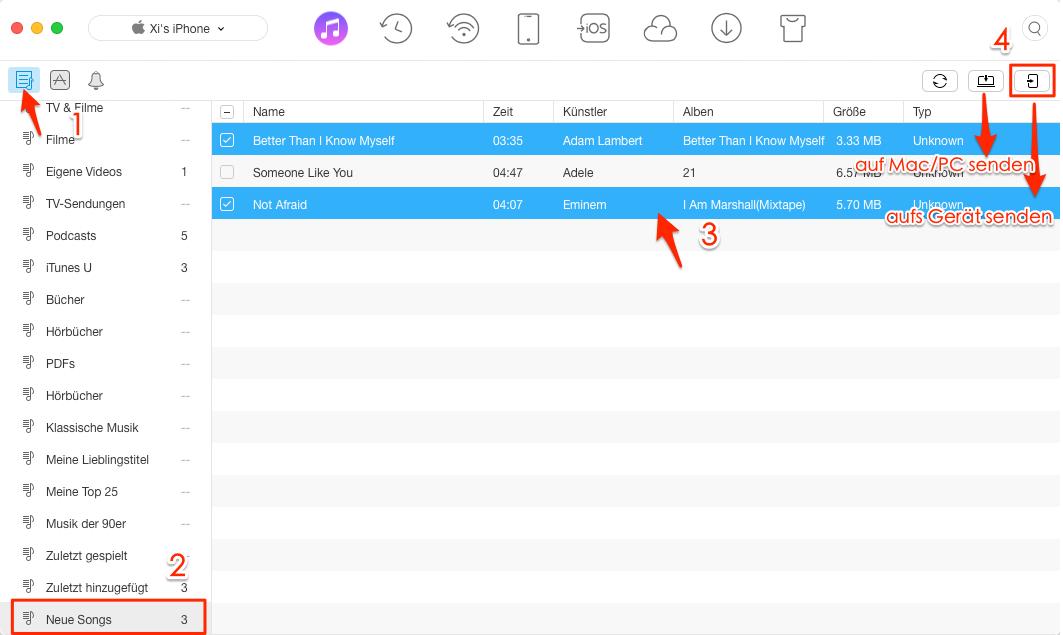 Wiedergabeliste auf iPhone X/8 übertragen – Schritt 2