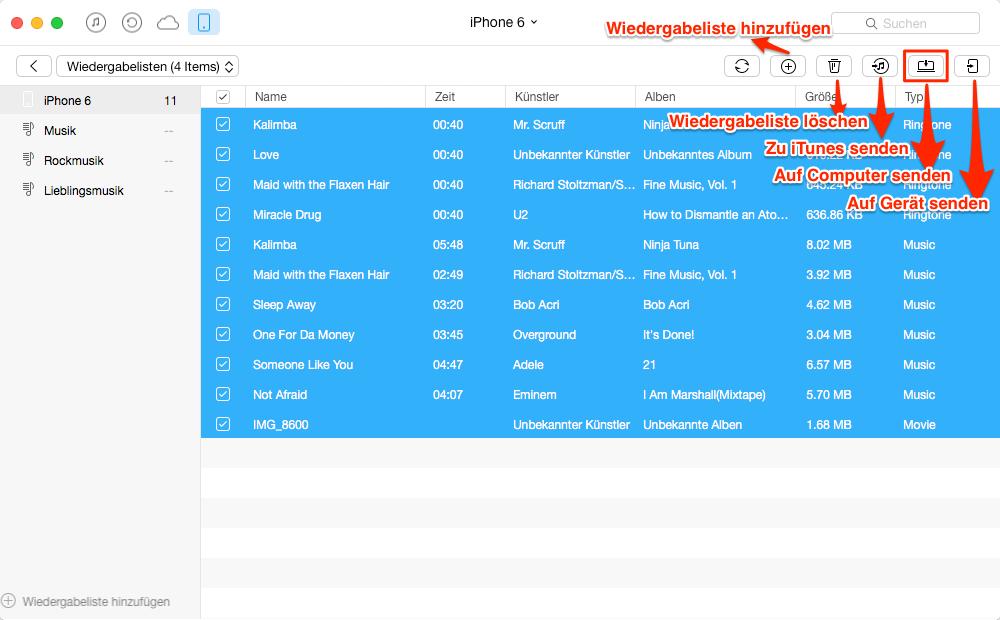 Playlist vom iPhone auf Mac – Schritt 3