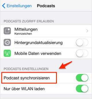 Podcast zwischen iTunes und iPhone synchronisieren