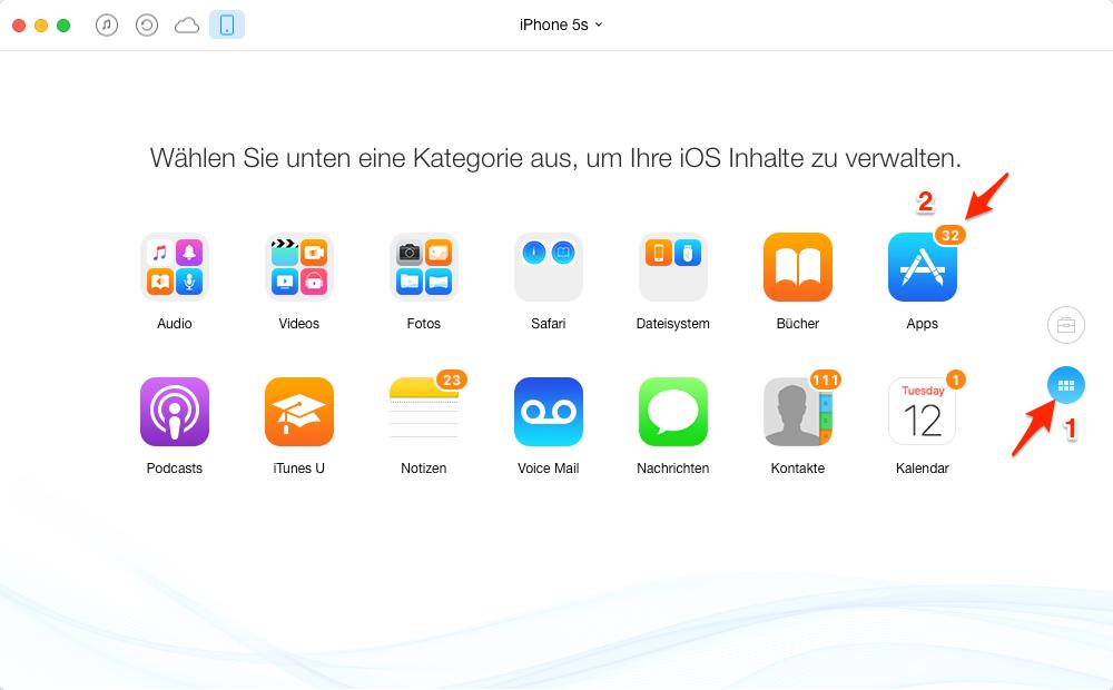 App auf dem Fenster antippen – Schritt 2
