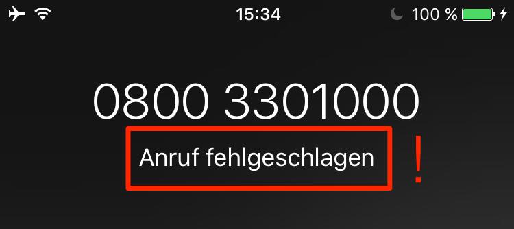 Iphone xs anruf fehlgeschlagen