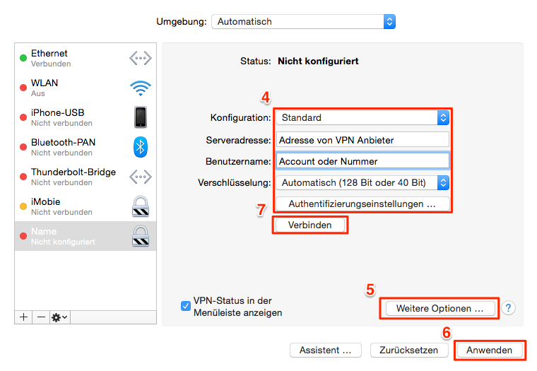 VPN am Mac funktioniert nicht – El Capitan/Mac OS Sierra/macOS High Sierra Probleme