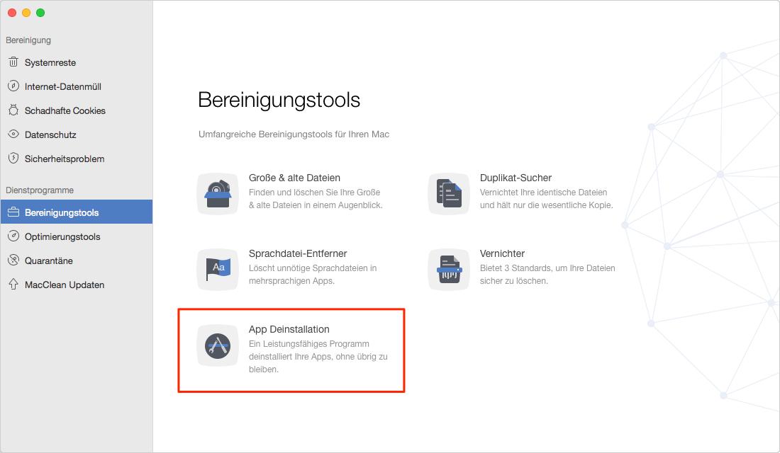 """Wählen Sie die Reinigungslösung """"App Deinstallation"""" - Schritt 1"""