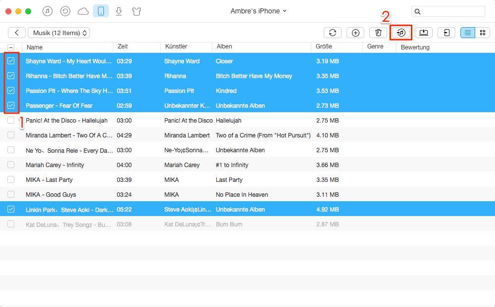 Musik vom iPhone 8/7/6/5/SE in iTunes Mediathek übertragen – Schritt 3