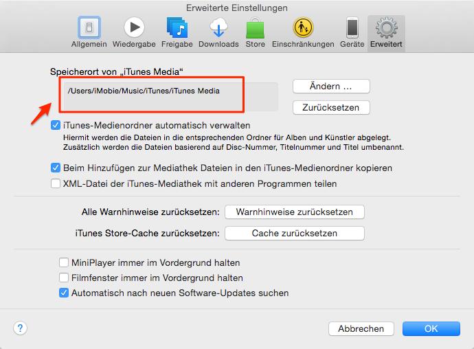 Ordner von iTunes Media suchen – Schritt 1