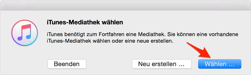 iTunes Mediathek wählen – Schritt 4