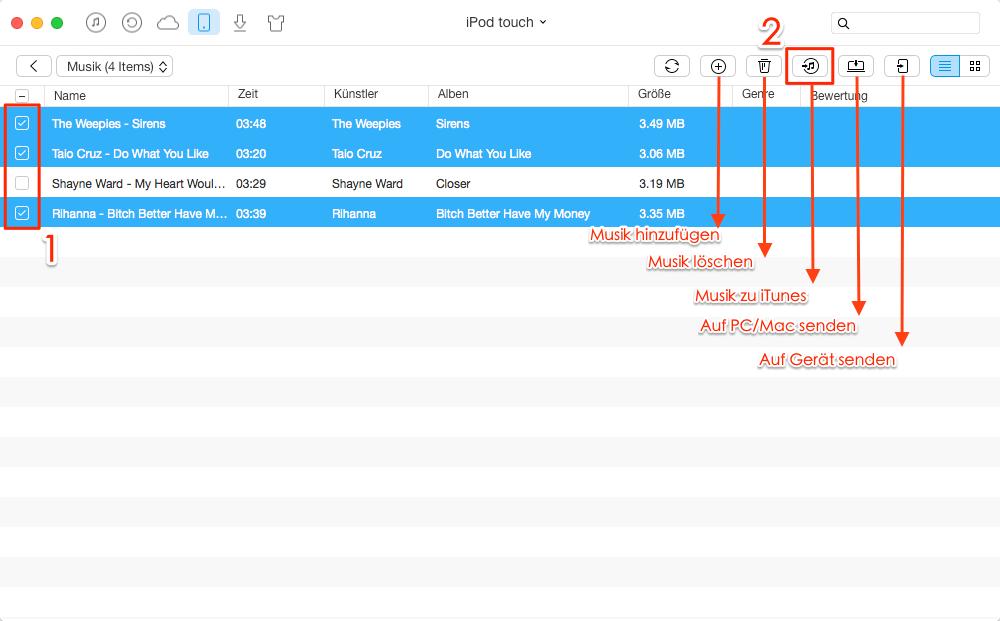 Musik vom iPod auf iTunes übertragen – Schritt 3