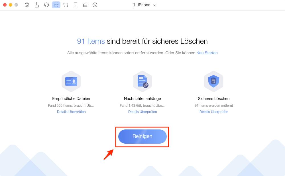 Die persönlichen Daten vom iPhone mit PhoneClean reinigen – Schritt 3