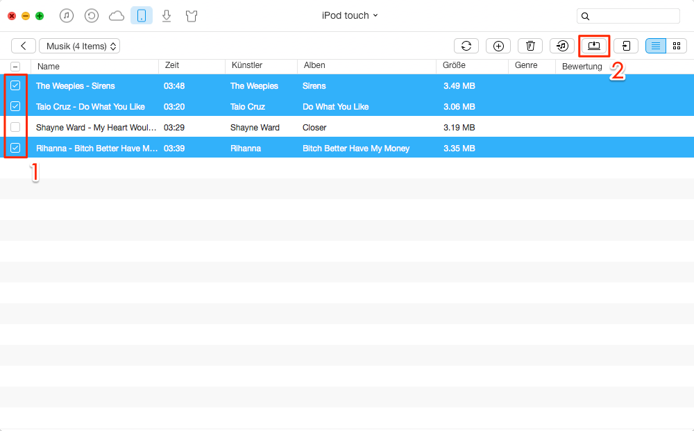 Musik vom iPod auf externe Festplatte übertragen – Schritt 2