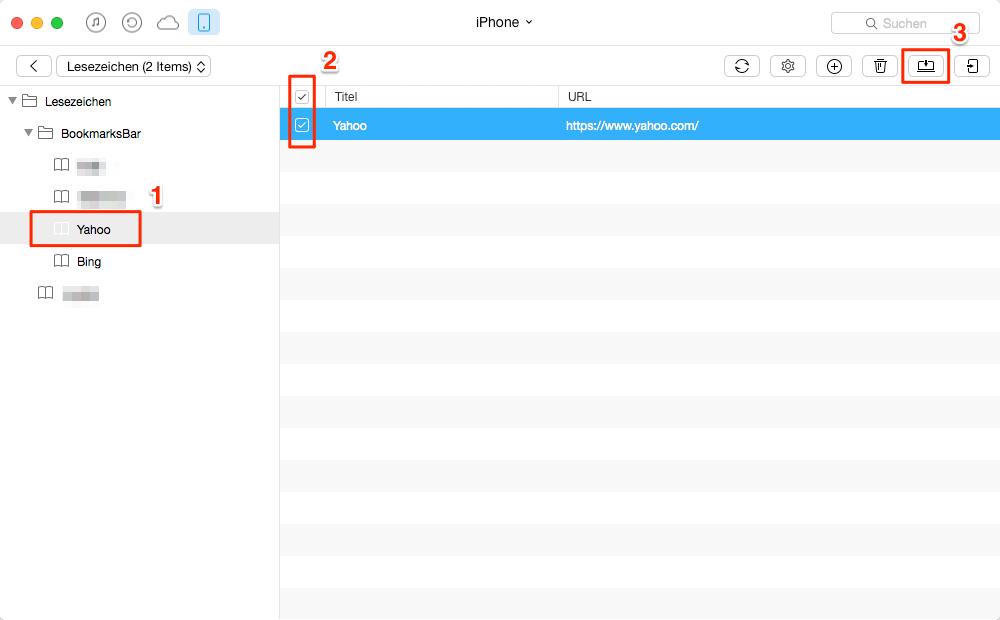 Safari Lesezeichen vom iPhone exportieren – Schritt 2