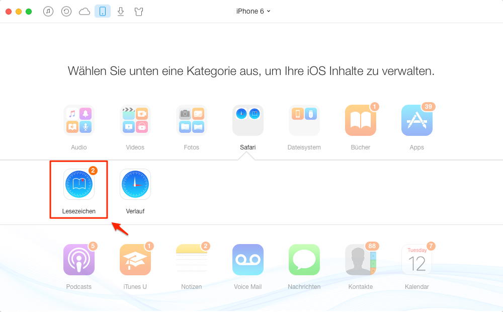 """AnyTrans starten und wählen Sie """"Safari Lesezeichen"""" – Schritt 2"""