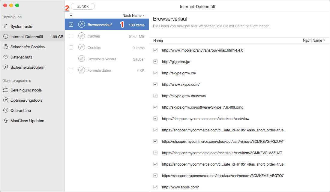 Safari Verlauf auf dem Mac entfernen – Schritt 3