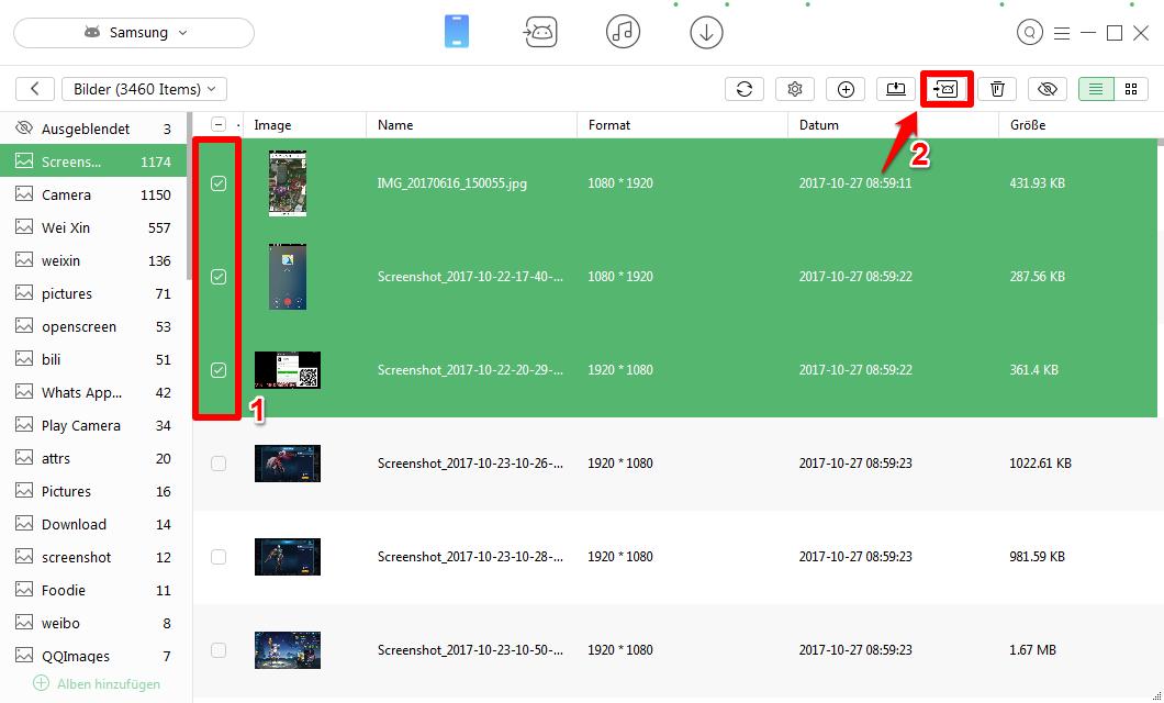 Samsung Daten übertragen auf neues Handy - Schritt 3