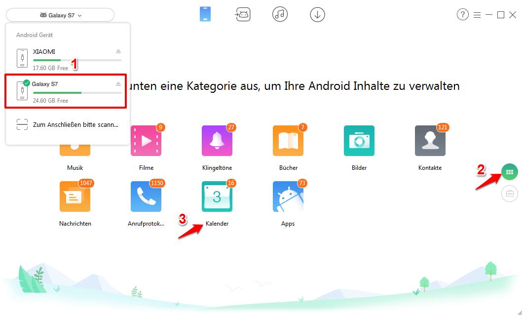 Samsung Kalender selektiv exportieren – Schritt 1