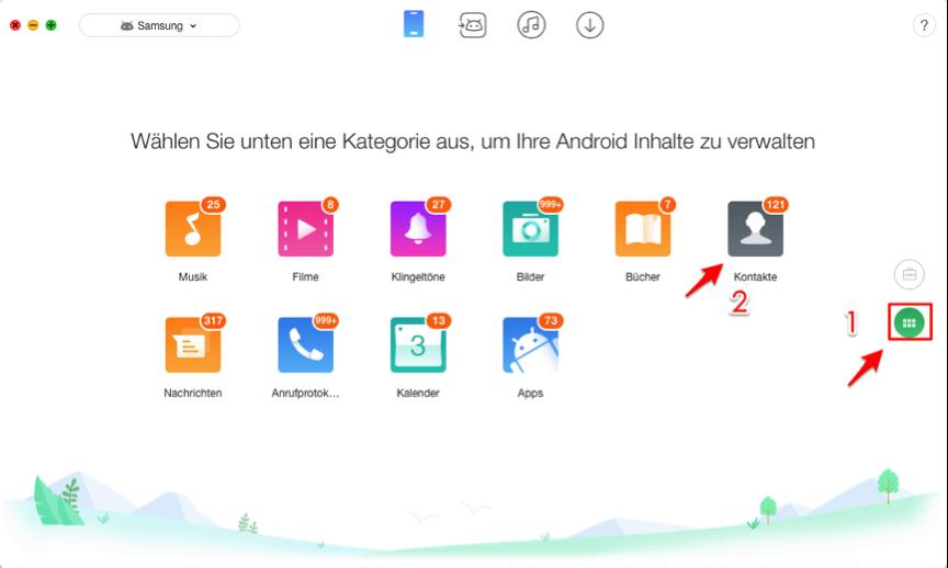 Samsung Kontakte exportieren auf PC – Schritt 2