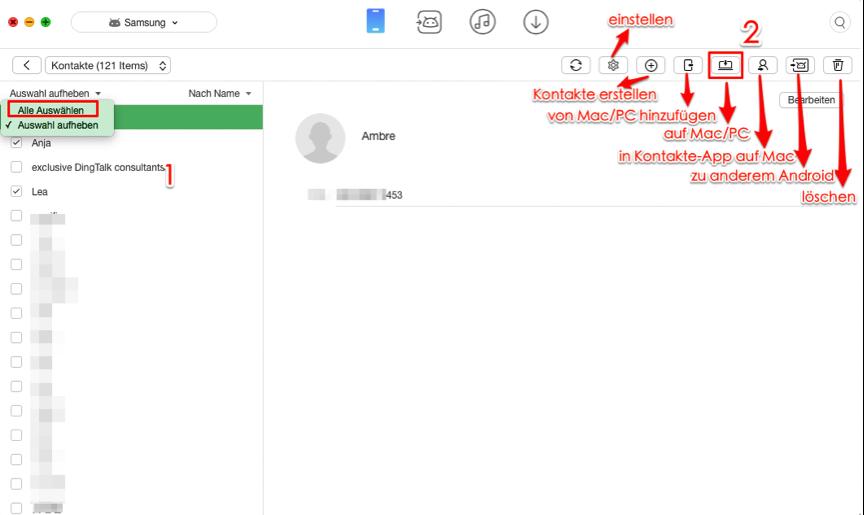 Kontakte von Samsung auf PC – Schritt 3