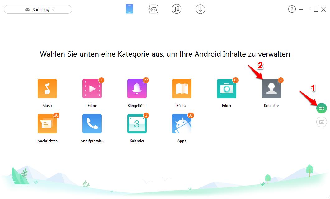 Samsung kontakte Sichern - Schritt 2
