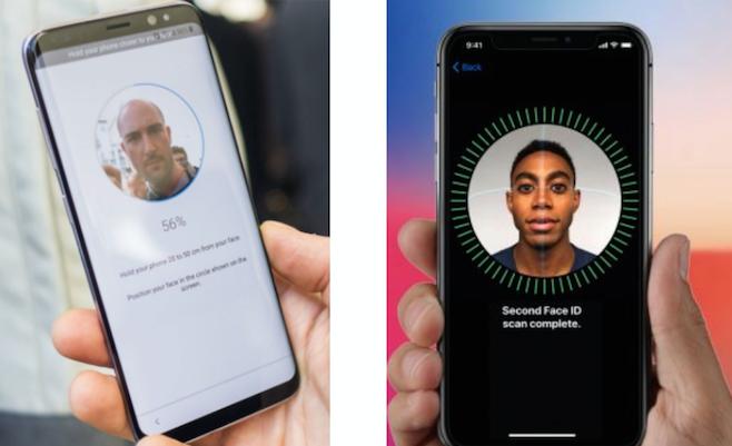 Identifizierung: Samsung S9 (links) und iPhone X (rechts)