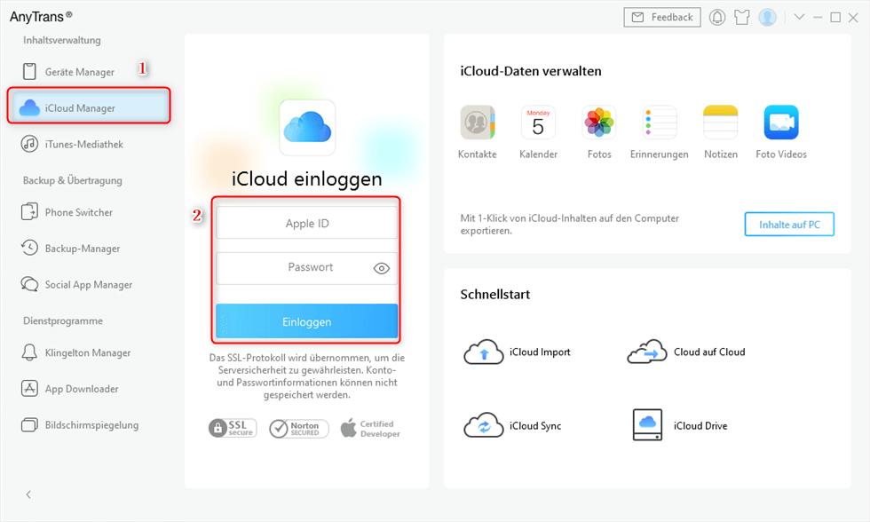 Sich bei iCloud anmelden zur Synchronisierung