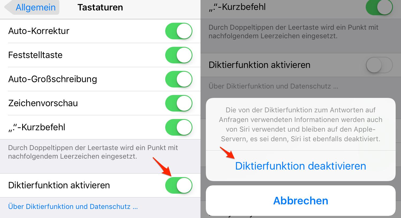 Diktierfunktion neu starten: Siri Fehler beheben