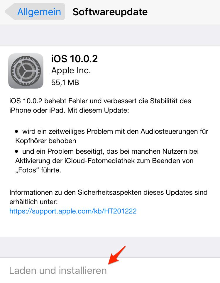 Siri reagiert nicht: Gerät updaten