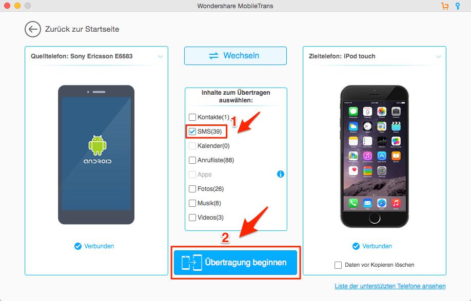 Nachrichten von Android auf iOS – Schritt 2