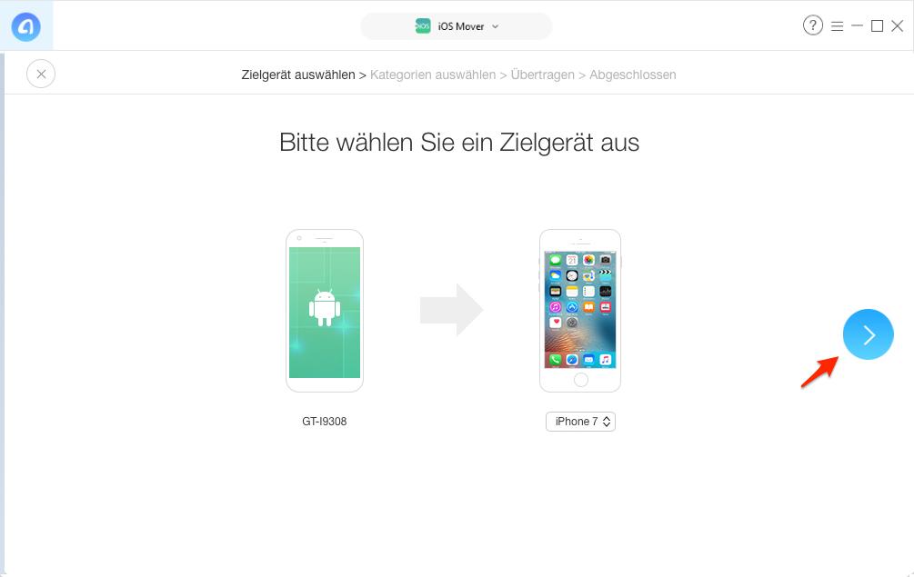 Nachrichten von Android auf iPhone übertragen – Schritt 3