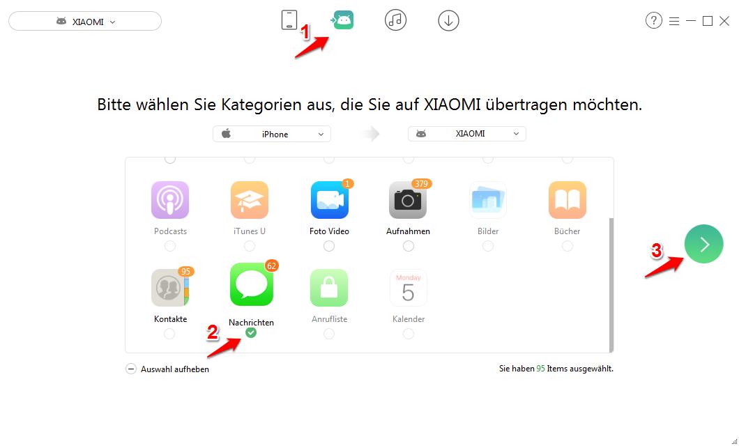 SMS von iPhone auf Android einfach übertragen – Schritt 2