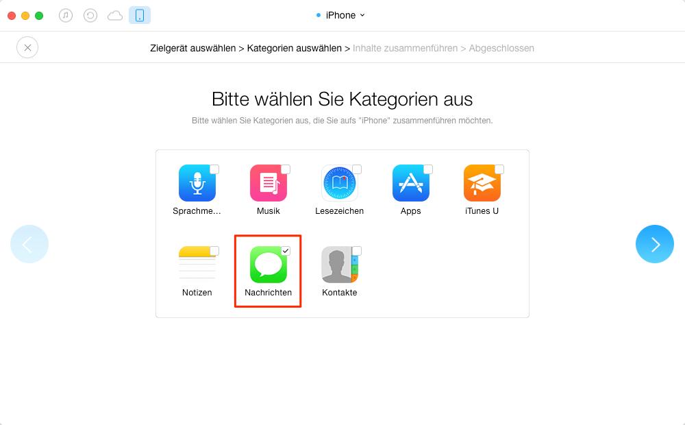 SMS & iMessage vom iPhone zu iPhone – Schritt 4