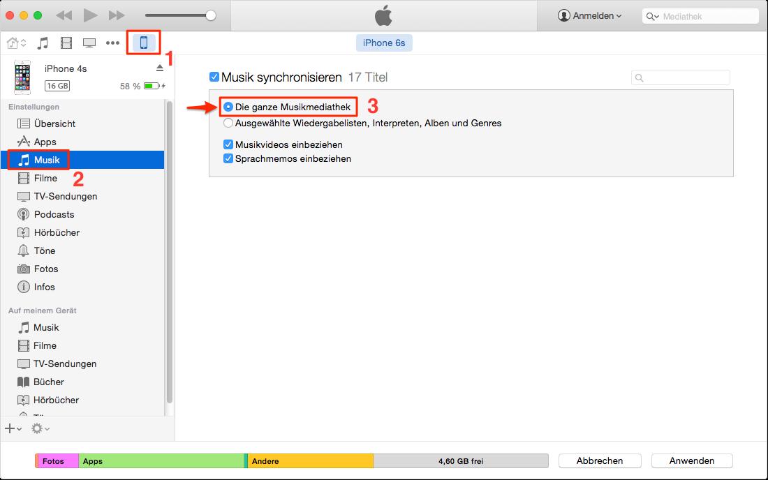 iTunes Option überprüfen – iTunes synchronisiert Musik nicht auf iPhone
