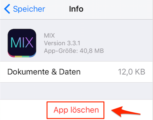 Speicher für iOS 10/10.1/10.2 freigeben: App neu installieren