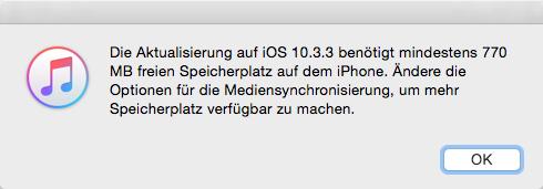 iTunes Hinweis anzeigen – Speicher für iOS 11-Update freigeben