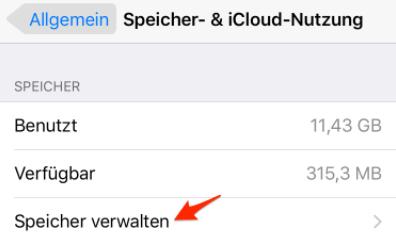 Speicherfresser vom iOS-Gerät suchen
