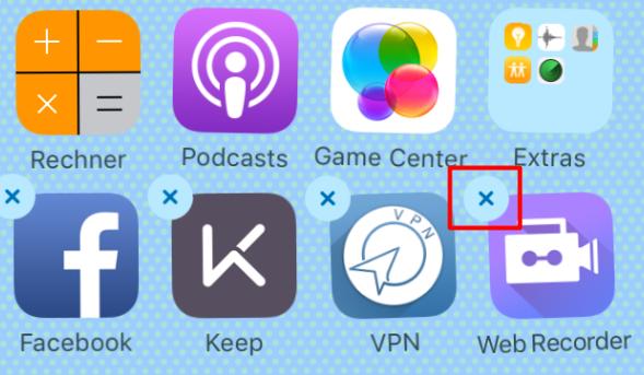 Speicher frei machen: App löschen